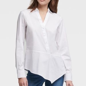 DKNY Asymmetrical Button Up Shirt Blouse White